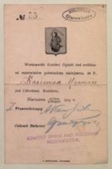 Warszawski Komitet Opieki nad Rodzinami Rezerwistów. Warszawa 27 Lipca – 9 Sierpnia 1914 r.