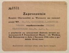 Zaproszenie. Komitet Obywatelski m. Warszawy