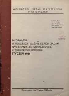 Informacja o realizacji ważniejszych zadań społeczno-gospodarczych w województwie katowickim, 1981, nr 1