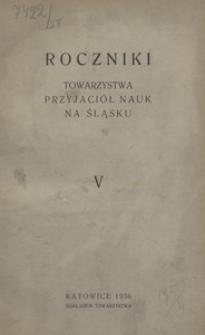 Roczniki Towarzystwa Przyjaciół Nauk na Śląsku, 1936, R. 5