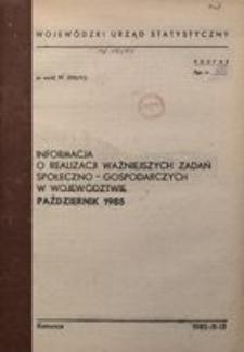 Informacja o realizacji ważniejszych zadań społeczno-gospodarczych w województwie, 1985, nr10