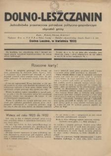 Dolno-Leszczanin : jednodniówka przeznaczona potrzebom polityczno-gospodarczym obywateli gminy, 1932
