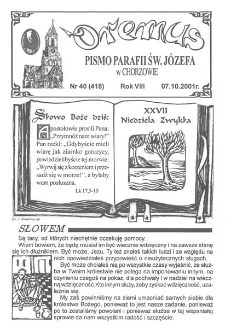 Oremus, R. 8, nr 40 (418), 2001