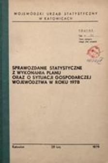 Sprawozdanie statystyczne z wykonania planu oraz o sytuacji gospodarczej województwa w roku 1978