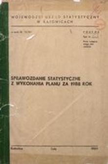 Sprawozdanie statystyczne z wykonania planu za rok 1988