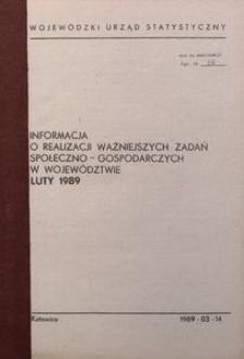 Informacja o realizacji ważniejszych zadań społeczno-gospodarczych w województwie, 1989, nr 2