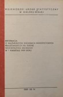 Informacja o ważniejszych zadaniach inwestycyjnych realizowanych na terenie województwa bielskiego w I kwartale 1989 roku