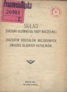 Skład Zarządu Głównego, Rady Naczelnej i Zarządów Oddziałów Miejscowych Związku Śląskich Katolików