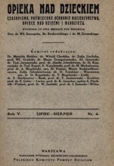 Opieka nad Dzieckiem : czasopismo, poświęcone ochronie macierzyństwa, opiece nad dziećmi i młodzieżą, 1927, R. 5, nr 4