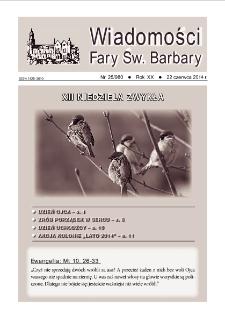 Wiadomości Fary Św. Barbary, 2014, R. 20, nr 25