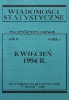 Wiadomości statystyczne. Województwo bielskie, 1994, R. 4, nr 4