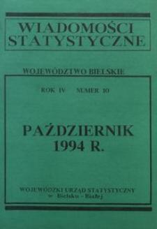 Wiadomości statystyczne. Województwo bielskie, 1994, R. 4, nr 10
