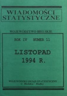 Wiadomości statystyczne. Województwo bielskie, 1994, R. 4, nr 11