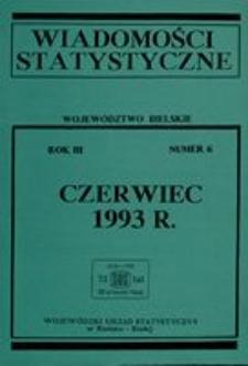 Wiadomości statystyczne. Województwo bielskie, 1993, R. 3, nr 6