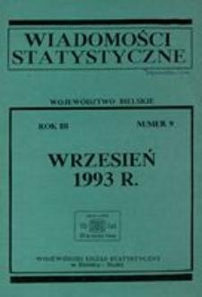 Wiadomości statystyczne. Województwo bielskie, 1993, R. 3, nr 9