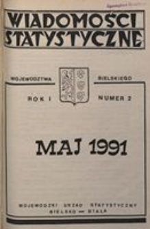 Wiadomości statystyczne województwa bielskiego, 1991, R. 1, nr 2