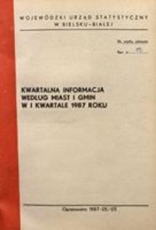 Kwartalna informacja wg miast i gmin w I kwartale 1987 roku