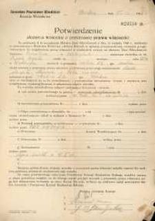 Potwierdzenie złożenia wniosku o przyznanie prawa własności z 1942 r.