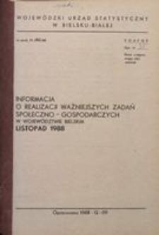 Informacja o realizacji ważniejszych zadań społeczno-gospodarczych w województwie bielskim, 1988, nr 11