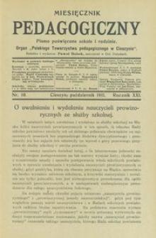 Miesięcznik Pedagogiczny, 1911, R. 21 [właśc. 20], nr 10