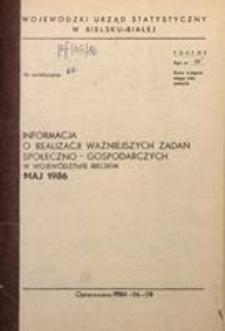 Informacja o realizacji ważniejszych zadań społeczno-gospodarczych w województwie bielskim, 1986, nr 5
