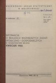 Informacja o realizacji ważniejszych zadań społeczno-gospodarczych w województwie bielskim, 1985, nr 4