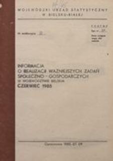 Informacja o realizacji ważniejszych zadań społeczno-gospodarczych w województwie bielskim, 1985, nr 6