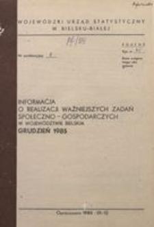 Informacja o realizacji ważniejszych zadań społeczno-gospodarczych w województwie bielskim, 1985, nr 12
