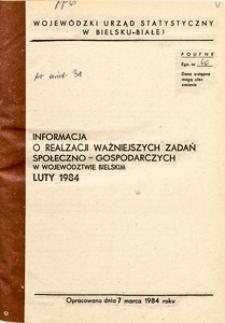 Informacja o realizacji ważniejszych zadań społeczno-gospodarczych w województwie bielskim, 1984, nr 2