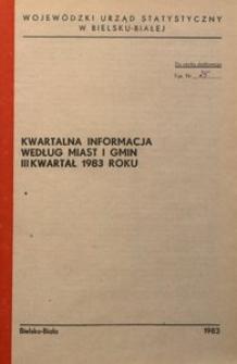 Kwartalna informacja wg miast i gmin, III kwartał 1983 roku