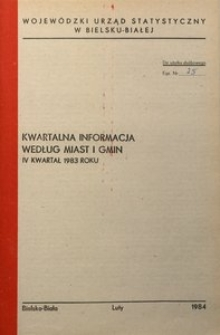 Kwartalna informacja wg miast i gmin, IV kwartał 1983 rok