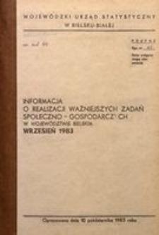 Informacja o realizacji ważniejszych zadań społeczno-gospodarczych w województwie bielskim, 1983, nr 9