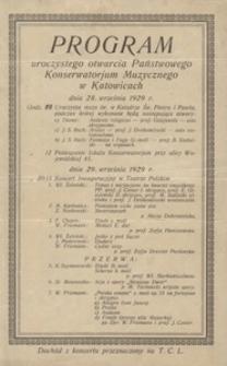 Program uroczystego otwarcia Państwowego Konserwatorium Muzycznego w Katowicach, 28.09.1929