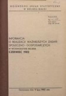 Informacja o realizacji ważniejszych zadań społeczno-gospodarczych w województwie bielskim, 1982, nr 6