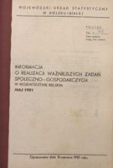 Informacja o realizacji ważniejszych zadań społeczno-gospodarczych w województwie bielskim, 1981, nr 5