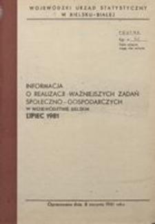 Informacja o realizacji ważniejszych zadań społeczno-gospodarczych w województwie bielskim, 1981, nr 7