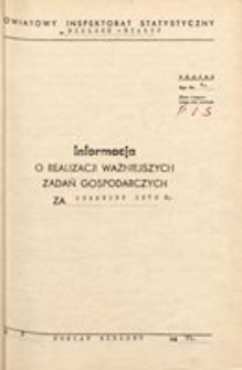 Informacja o realizacji ważniejszych zadań gospodarczych, 1972, nr 6