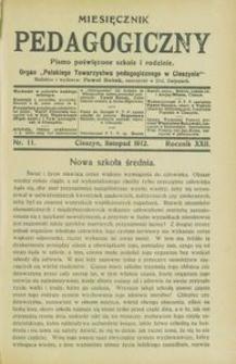 Miesięcznik Pedagogiczny, 1912, R. 22 [właśc. 21], nr 11