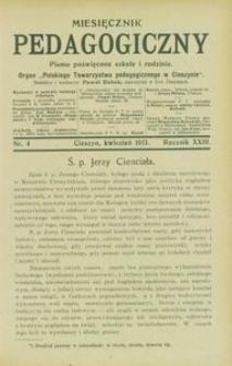 Miesięcznik Pedagogiczny, 1913, R. 23 [właśc. 22], nr 4