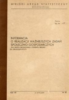 Informacja o realizacji ważniejszych zadań gospodarczych dla miasta Bielsko-Biała i powiatu Bielsko, 1974, nr 12