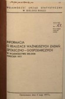 Informacja o realizacji ważniejszych zadań społeczno-gospodarczych w województwie bielskim, 1977, nr 4